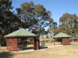 Bacchus Marsh / Rupert Vance Moon Reserve, The Avenue of Honour at Lerderderg River / Picnic shelters and BBQs fronting river