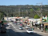 Belgrave / Shops and commercial centre, Main Street and Bayview Road / View north-east along Main St towards Monbulk Rd