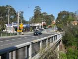 Belgrave / Shops and commercial centre, Main Street and Bayview Road / View south-east along Gembrook Rd over railway bridge towards Bayview Rd