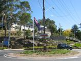 Belgrave / Belgrave Town Park and views, corner Monbulk Road and Terrys Avenue / View of park and police station from Monbulk Rd