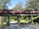 Belgrave / Puffing Billy viewing area, Gembrook Road at railway bridge / Puffing Billy carriages on bridge over Gembrook Rd