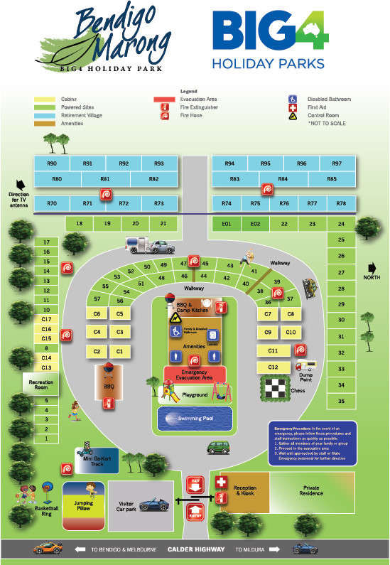 BIG4 Bendigo Marong Holiday Park - Park map