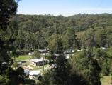 Blackwood / Mineral Springs Reserve at Lerderderg River, Golden Point Road / View north towards caravan park and Mineral Springs Reserve from Golden Point Rd