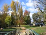 Bright / Howitt Park, Centenary Park, Ovens River / View east through Centenary Park from footbridge across Morses Creek