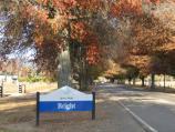Bright / Great Alpine Road west of Bright / Bright town sign, view east along Great Alpine Road, west of Ashwood Av
