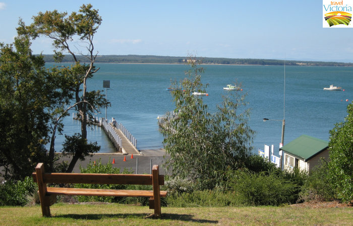 Corinella - View of boat ramp and French Island in the distance