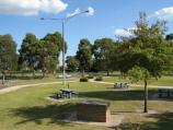 Cranbourne / Meteorite display and park, corner South Gippsland Highway and Camms Road / View through park from Rotunda