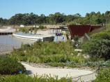 Cranbourne / Australian Garden at Royal Botanic Gardens Cranbourne / View east along Serpentine Path towards Waterhole Bridge