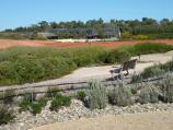Cranbourne / Australian Garden at Royal Botanic Gardens Cranbourne / View from Arid Garden towards Red Sand Garden and visitor centre