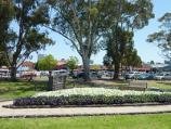 Dandenong / Pioneer Memorial Gardens, Stuart Street / Westerly view through gardens towards Dandenong Market