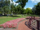 Dandenong / Dandenong Park, Foster Street and Pultney Street / South-easterly view through park from Rotary Waterwheel