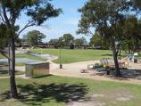 Dandenong / John Hemmings Memorial Park, Princes Highway / View towards playground and picnic shelters