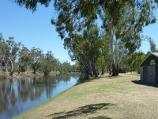 Dimboola / Dimboola Recreation Reserve, Lloyd Street / View north along Wimmera River at Dimboola Rowing Club