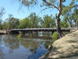 Dimboola / Wimmera River at Wimmera Street bridge / View south-east along river towards bridge