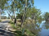 Dimboola / Golf Course Road along Wimmera River / View north-west along Golf Course Rd and river towards weir