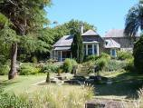 Dromana / Heronswood, Latrobe Parade / Summer perennial gardens along side of house near duck pond