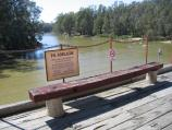 Echuca / The historic Port of Echuca / View along Murray River from wharf towards bridge across to Moama N.S.W.
