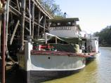 Echuca / The historic Port of Echuca / The Pevensey, as featured in the mini-series 'All The Rivers Run', moored at the wharf