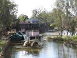 Echuca / The historic Port of Echuca / View north along Murray River towards wharf from Aquatic Reserve