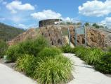 Eildon / Eastern end of Lake Eildon dam wall and lookout / View towards lookout from Embankment Rd