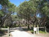 Golden Beach / Camping Reserve, foreshore and beach, Shoreline Drive opposite Moonrise Road / Entrance to camping area at Shoreline Dr