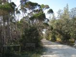 Golden Beach / Paradise Beach township, entrance to Gippsland Lakes Coastal Park / Entrance to park, view north-east along Pines Track at Government Rd