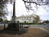Hamilton / Melville Oval and surrounds / War memorial and Alexandra House, view south-east along Brown St at Chaucer St