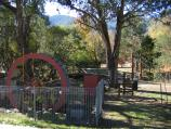 Harrietville / Tauare Park, Pioneer Park and Ovens River East Branch / Eric M Hoy water wheel, Pioneer Park