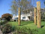 Hastings / Marine Parade / Wood carvings in posts, Mornington Peninsula Shire Council offices, corner Marine Pde and High St