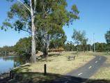 Horsham / Northern bank of Wimmera River between Stawell Road and Firebrace Street / View west along river towards sound shell