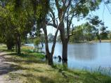 Horsham / Wimmera River at boat ramp at southern end of Drummond Street / View east along river