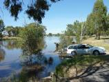 Horsham / Wimmera River at boat ramp at southern end of Drummond Street / View west along river towards boat ramp