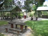 Korumburra / Coal Creek Heritage Village, Silkstone Road / BBQ shelters and picnic area, next to car park at entrance