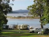 Mallacoota / Foreshore Camping Park, Allan Drive / View across camping park from Allan Dr near Maurice Av