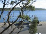 Marlo / Jetty, boat ramp and Foreshore Road / View south across car park at jetty towards Snowy River