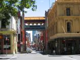 Melbourne / Chinatown, Little Bourke Street / View west along Little Bourke St at Exhibition St