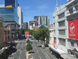 Melbourne / Melbourne Central Shopping Centre and neighbouring department stores / View east along Lonsdale St towards Swanston St from walkway linking Melbourne Central with Myer