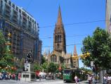 Melbourne / City Square, Swanston Street / View south along Swanston St at Collins St towards Burke and Wills monument