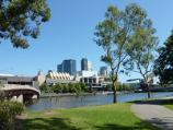Melbourne / Yarra River at Batman Park / View through Batman Park towards Yarra River and Crown Casino