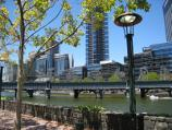 Melbourne / Yarra River at Banana Alley Wharf / View from Banana Alley towards Yarra River and Sandridge Bridge