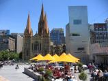 Melbourne / Federation Square / View north at East Shard towards St Pauls Cathedral