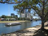 Melbourne / Birrarung Marr and Yarra River / View across Yarra River towards boat sheds
