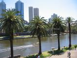 Melbourne / Alexandra Gardens and Yarra River / View north across Yarra River towards Federation Square and city skyline