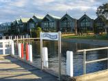 Metung / Metung Wharf and Metung Hotel, eastern end of Kurnai Avenue / View of water front apartments from wharf