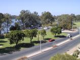 Mildura / Murray River in town / From footbridge across railway, east along Murray River and Hugh King Dr