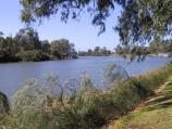 Mildura / Murray River in town / View east along Murray River towards wharf