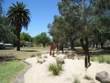 Moonee Ponds / Queens Park / Sandy garden with camels near corner of Mt Alexander Rd and The Strand