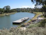 Moonee Ponds / Maribyrnong River at bridge on Maribyrnong Road / View south-west along river at jetty