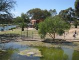 Moonee Ponds / Parkland along east bank of Maribyrnong River, north of Maribyrnong Road / View north through park towards Boathouse Cafe from rotunda