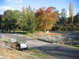 Mount Beauty / Regulating Pondage, Embankment Drive / View south-east along Embankment Dr towards Pondage outlet into Kiewa River
